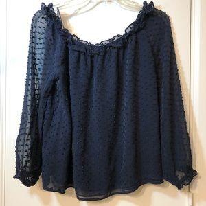 J crew navy blue blouse